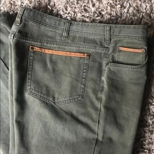 Orvis Twill Jeans with Leather Trim 42 X 30